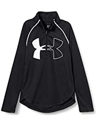 Under Armour Tech Graphic Big Logo 1/2 Zip Camisa de Manga Larga, Niñas, Negro, YSM