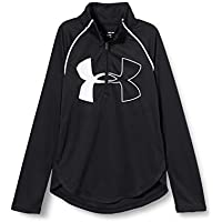 Under Armour Tech Graphic Big Logo 1/2 Zip Camisa de Manga Larga, Niñas, Negro, YMD