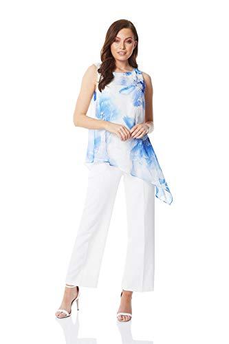 Roman Originals Damen Jumpsuit mit Blumen-Print und Chiffon-Overlay - Damen Elegante Kleidung für abends, zum Ausgehen, für Partys, Cocktailpartys, Urlaub, Kreuzfahrten - Royal Blue - Größe 40 -