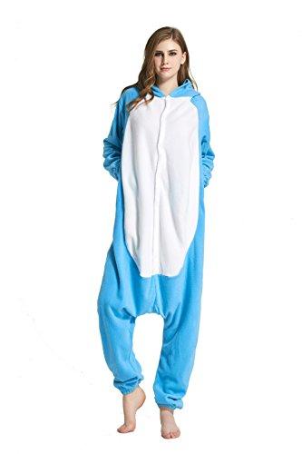 URVIP Jumpsuit Tier Cartoon Fasching Halloween Kostüm Sleepsuit Cosplay Fleece-Overall Pyjama Erwachsene Unisex Schlafanzug Tier Onesie mit Kapuze Blau Elefant-01 Large