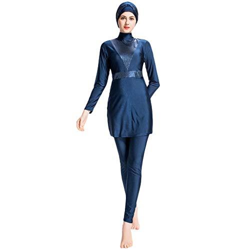 Lazzboy Frauen Muslimischen Badeanzug Mit Kappe Volltonfarbe Beachwear Bademode Muslim Islamischen Für Hijab Badebekleidung Full Deckung Schwimmen(Marine,3XL) -
