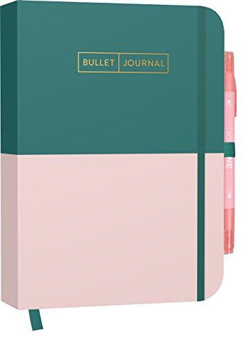 """Bullet Journal \""""Greenery Rose\"""" 05 mit original Tombow TwinTone Dual-Tip Marker 61 peach pink:Mit Punkteraster, Seiten für Index, Key und Future Log ... praktischem Verschlussband und Innentasche"""