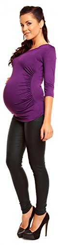 Zeta Ville Damen - Umstands Top - Stretch Umstndsshirt für Schwangere - 338c Lila
