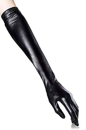 Wetlook-Handschuhe lang - schwarz