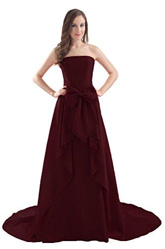 Bridal_Mall Damen Elegant Partykleider Lang mit Schleppe Schleife Prom Abendkleider Burgund
