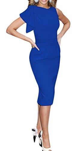 YOGLY Damen Kleid Vintage Aermellos Elegant Businesskleid Partykleid Cocktailkleid Knielanges Abendkleid Blau