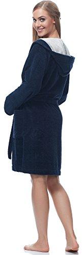 Merry Style Damen Bambusfasern Bademantel MSLL1004 Navy/Weiß
