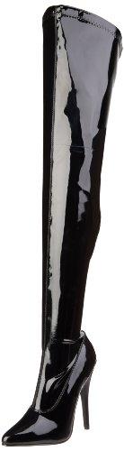 Pleaser Pleaser DOMINA-3000 Damen Stiefel, Damen Stiefel, Schwarz (Black), 45 EU (12 UK)