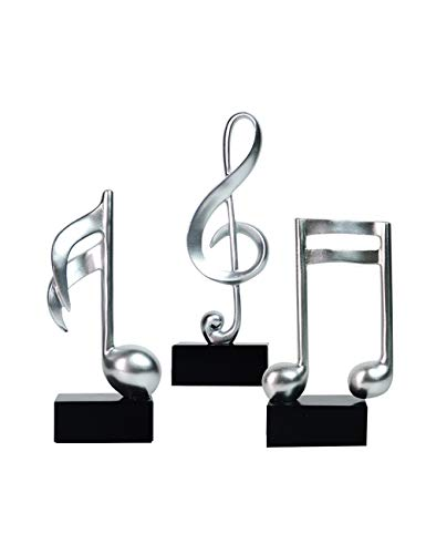 Amoy-Art Musik Note Skulptur Figur Statue Dekoration Geschenk Musical Note Sculpture Figurine Home Decor Handgemalt Polyresin 19cmH S/3 Silber