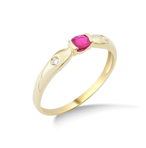 Miore Damen-Ring Rubin und 2 Brillanten 9 Karat 375 Gelbgold Gr. 52 (16.6) MG9127R2