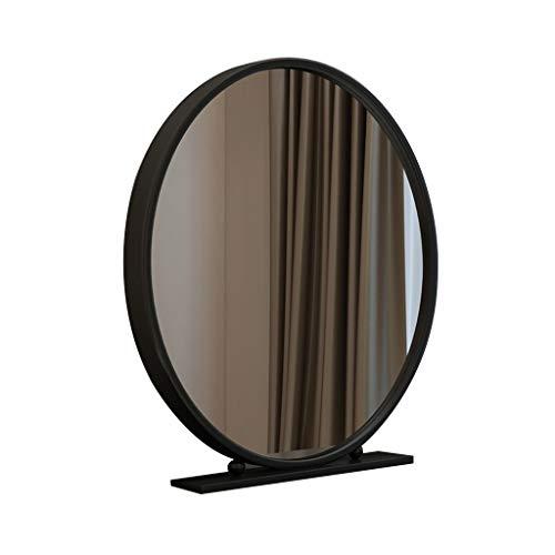 NJYT Lichtspiegel Weißer Kosmetikspiegel mit Ständer, Arbeitsplatte Hochauflösend Tischspiegel Metall Gerahmt Groß/Modern Schminktisch Kosmetikspiegel (Farbe : Schwarz, größe : 50 cm)