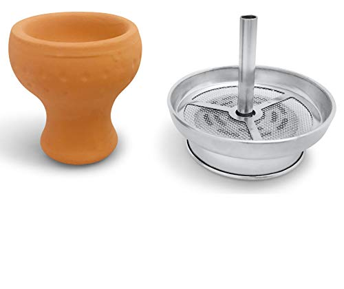 mysale24.de Wasserpfeifen Shisha Kaminkopf Set | Kaminaufsatz Aufsatz mit Tonkopf | Edelstahl Kamin-Kopf u. Natur Tonkopf ideal für Naturkohle und Kokoskohle