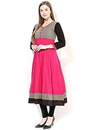 AnjuShree Choice Women's Pink Stitched Cotton Anarkali Kurti
