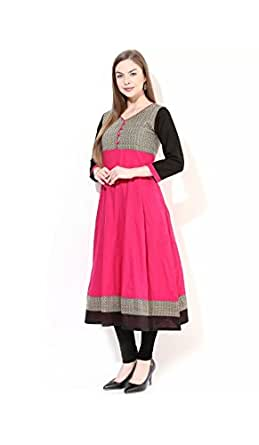 AnjuShree Choice Women's Anarkali Kurta (ASC048P2PINK_S_Pink_Small)
