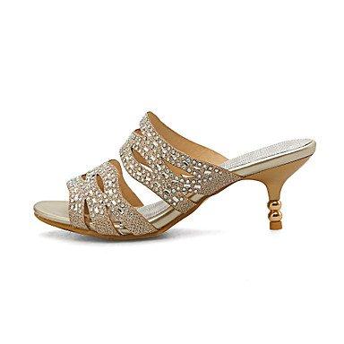 RTRY Damen Hausschuhe & Flip Flops, Summer Komfort Individuelle Materialien Kleid Casual Party & Abend Kitten Heel Strass Gold S US9.5-10 / EU41 / UK7.5-8 / CN42