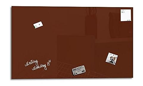 Smart Glass Board ® 100 x 60 cm, Brun, Tableau magnétique en verre / Mémo magnétique / Tableau d'affichage + 3 Aimants + 1 Marqueur + 1 Brosse D'effacage