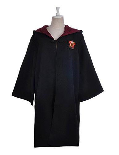 Schwarze Kostüm Lange Robe (Gryffindor Mantel Slytherin Robe Harry Potter Kostüm schwarze lange Umhang mit Kapuze (XXL,)