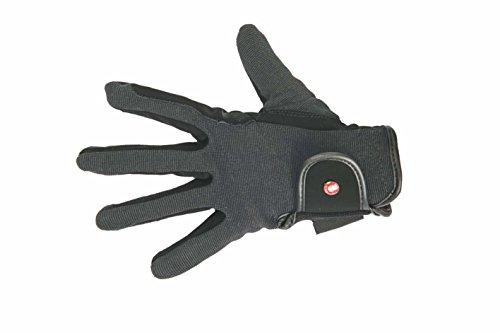HKM Damen Reithandschuh-Professional Nubuk Lederimitat Handschuhe, Schwarz/Grau, S