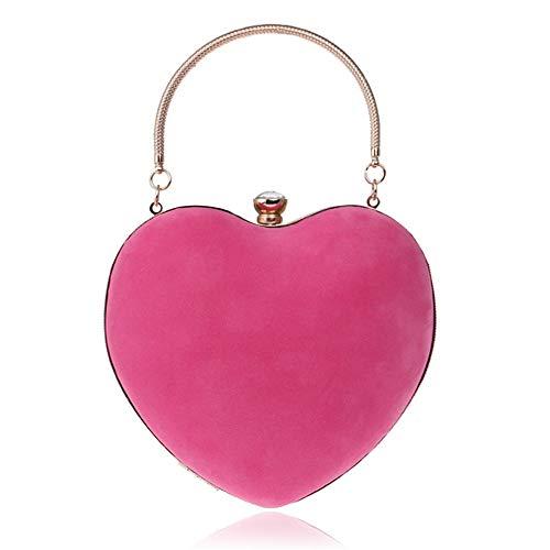 AFCITY Frauen Clutch Bag Womens Heart Shape Messenger Schulter Handtasche Clutch Abendgesellschaft Tote Handtasche Tasche Party Abendtasche Handtasche Prom Bag (Farbe : Fuchsia)