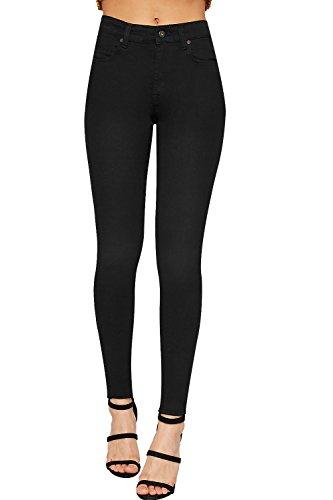 WEARALL - Damen Hoch Tailliert Dünn Bein Strecke Denim Jeans Damen Tasche Hose Hose - Schwarz - 36 (Jegging Kurz)
