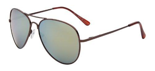 Pilotenbrille Fliegerbrille Pornobrille Sonnenbrille Art. 4027-10 Rahmen: braun, Gläser: gold verspiegelt, mit Federscharnieren!