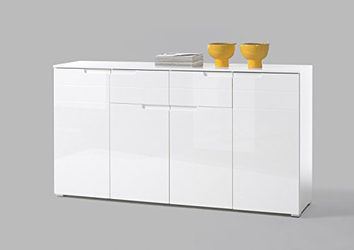 lifestyle4living Sideboard in Hochglanz weiß, mit 4 Türen und 2 Schubkästen, Maße: B/H/T ca. 180/96/38 cm