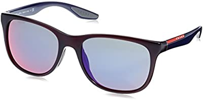 Prada Sport - Gafas de sol Mod.03OS para hombre, Bordeaux/Dark grey mirror blue/red