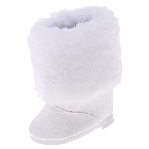 MagiDeal 1 Paar Weiße Puppen Schneeschuhe Stiefel Schuhe für 18 Zoll American Girl Puppe - 7 x 4 x 8 cm