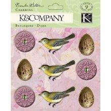 Unbekannt Flora und Fauna Kollektion K und Company Schmetterling Pergamentpapier Aufkleber Charmers Ei und Blume -