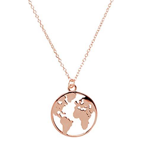 LENIRA Weltkugel Frauen Halskette (Rosegold)