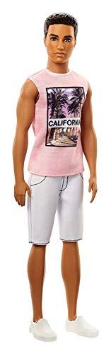 Barbie Fashionistas poupée mannequin Ken #17 brun avec marcel rose California, short et chaussures blancs, jouet pour enfant, FJF75