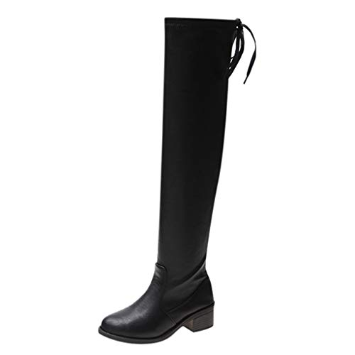 Deloito Winter Wärmer Schuhe Damen Mode Langschaft Schneestiefel über das Knie Booties Strecken Hohe Chelsea Stiefel (Schwarz-A,35 EU) -
