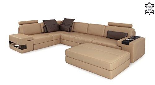 Ledersofa Wohnlandschaft Leder Sofa Eck Couch Ledercouch Ecksofa Designersofa L-Form mit LED-Licht Beleuchtung HAMBURG II