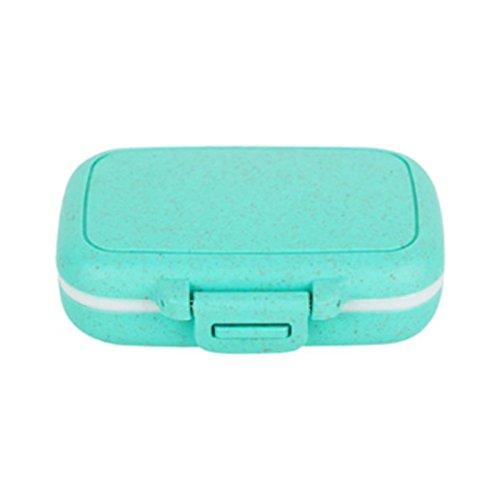 Pocket-Medikamenten, täglich mit 3Fächern für Pillendose Tablettenbox Vitamine Candy Storage, Wheat Straw Tiffany Blue, S