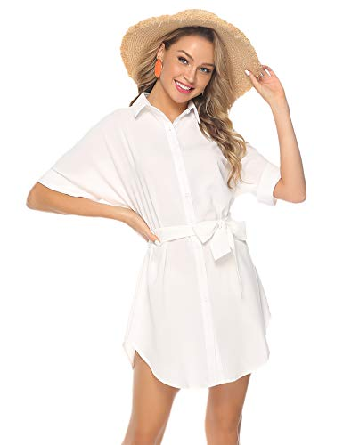 Abollria Damen Chiffon Hemdblusenkleid Fließende Longbluse Casual Leicht Sommerkleid mit Abnehmbar Bindeband,Weiß,S