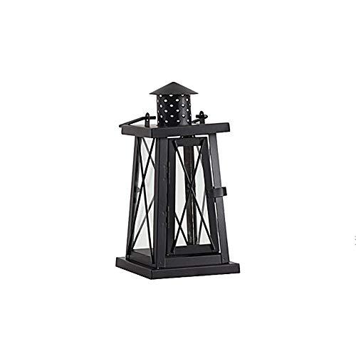 Chandeliers Bougeoir Bougeoir vintage, chandelier en fer noir pour table de salle à manger de salon, lumière de cheval coupe-vent de cour (taille : S(11×2.5cm))