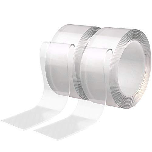 Diealles shine nastro biadesivo nastro trasparente lavabile multifunzione per casa, parete, cucina (2m 5 pezzi)