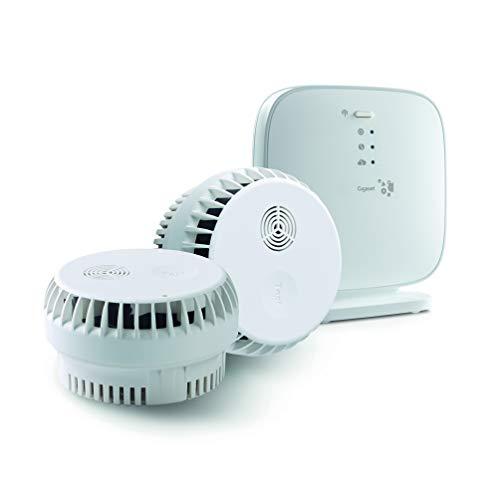 Gigaset Rauchmelder-Set mit intelligenter App-Steuerung (2er Pack) - Brandmelder mit 10 Jahres Batterie - Sirene mit 85dB Lautstärke und Alarm-Nachricht aufs Handy - Einstieg ins Gigaset Alarm-System
