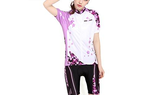 Outdoor peak viola e rosso estate ruota della maglia donne camicia con maniche corte tuta abbigliamento da bicicletta con ruota bicicletta pantaloni tuta Abbigliamento Da Ciclismo della Maglia, Lila, XXL