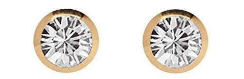 Piercing Kugel Set, 2 x Verschlusskugel Stahl PVD Rosegold mit Stein 1,2 x 3 mm
