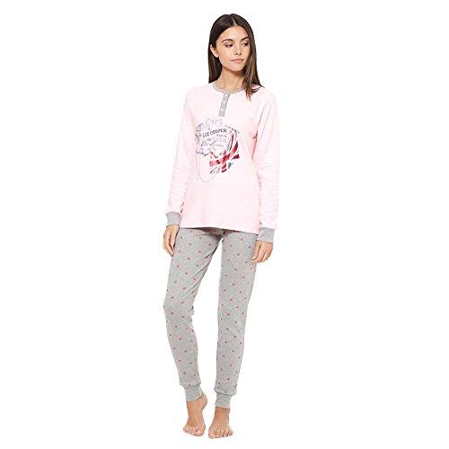 LCW00011 Pigiama donna Lee Cooper mod. Pois Pink caldo cotone a manica lunga. MEDIA WAVE store ® (M)