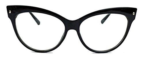 50er 60er Jahre Damen Retro Brillengestell Cat Eye Nerdbrille Klarglas SR (Schwarz)