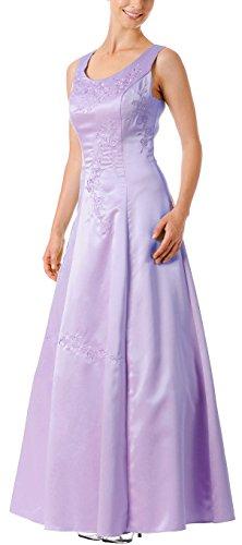 Abendkleid festlich lang Brautmutterkleid Brautjungfernkleid Hochzeit-Gast Abi-Ballkleid A-Linie breite Träger bodenlang Festkleid Satin Flieder lila Gr.38