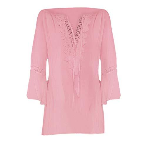 Dtuta Damen Langarmshirt Freizeit V-Ausschnitt Manschetten-Ärmel Locker Punkte Taschen Shirt Bluse,Kurzarm T-Shirt Falten Tops Shirt Damen Große Größen