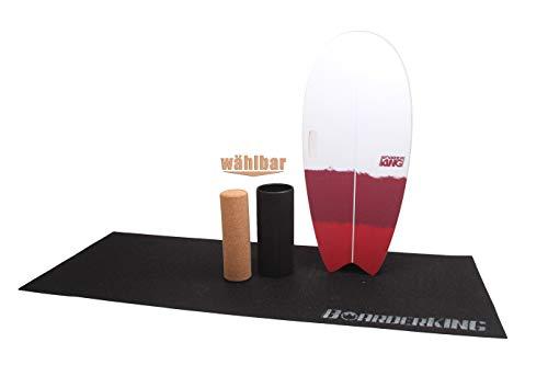 Surf Red - Indoorboard inkl. Rolle und Matte Skateboard Surfboard Trickboard Balanceboard Balance Board (150 mm x 45 cm (Kork))