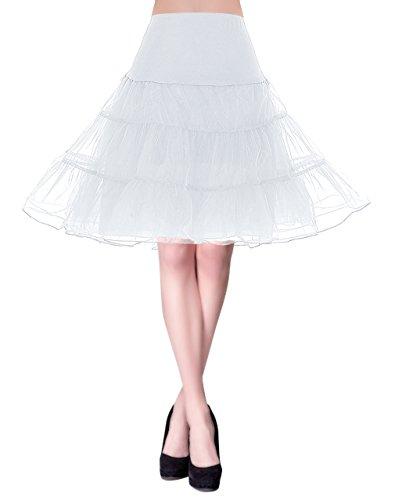 50er Petticoat Vintage Retro Reifrock Unterrock Underskirt Crinoline f¨¹r Partykleid Abendkleid Cocktailkleid Wei? XL