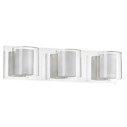 Frosted Clear Glass (Dainolite Lighting V311-3W-PC 3-Light Vanity Fixture, Clear/Frosted White Glass Finish by Dainolite)