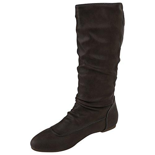 Stiefelparadies Bequeme Flache Damen Stiefel Hochschaft Stiefeletten Schuhe Flandell Grau Amares Nieten