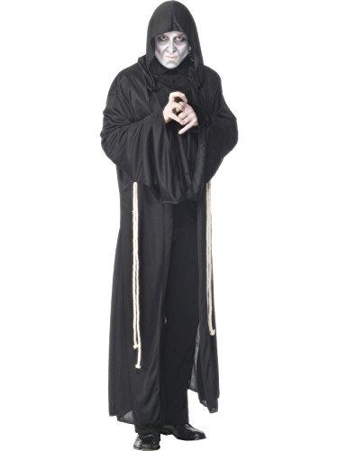 Kostüm Herren Herrenkostüm Sensenmann Gevatter Tod schwarzer Umhang mit Kapuze Halloween Fasching Karneval Horror Grauen Grusel Schrecken Gr. 48/50 (M), 52/54 (L), Größe:L (Herr Tod Kostüm)