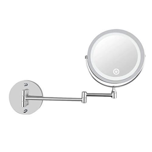 spiegel mit leicht Faltbarer Doppelwandhalterung USB-Ladefunktion Dimmen, Schminkspiegel ()